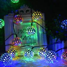 10/20 LED <b>Moroccan Ball</b> Solar <b>String Lights</b> Fairy Globe Waterproof ...