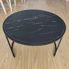 metal frame black round coffee table