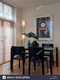 Moderne Esszimmer Schwarzem Holz Und Glas Tisch Stühle
