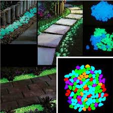 1 x 100pcs glow in the dark garden pebbles stone for walkway yard and decor diy decorative gravel stones