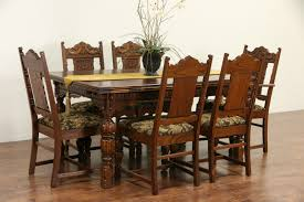 antique dining room chairs oak. Interesting Antique English Tudor 1920 Antique Carved Oak Dining Set Table U0026 6 Chairs Inside Room I