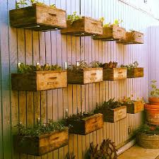 make a wall with hanging crates planted with herbs