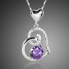 18k white gold plated purple stellux crystals heart pendant necklace for valentine s day gift of love 1 1