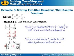example 3 solving two step equations that contain fractions
