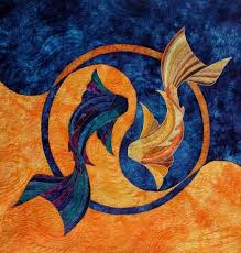 Cydney Brooks -- Fabric featured: Multicolor -- The blue and orange water  fabric and some of the fabric in both fish are hand dyed… | Art quilts,  Art, Animal quilts