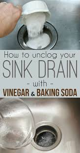 'How to unclog a sink drain with baking soda and vinegar.
