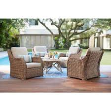 gwendolyn 5 piece wicker patio deep seating set with sunbrella cast ash cushions