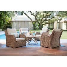gwendolyn 5 piece wicker patio deep seating set with sunbrella cast ash cushions