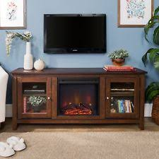 New 58 Inch Wide Television Stand With Fireplace  Traditional Brown Finish 48 Inch Wide Tv Stand V57