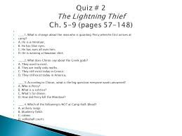 quiz 2 the lightning thief ch 5 9 pages 57 148