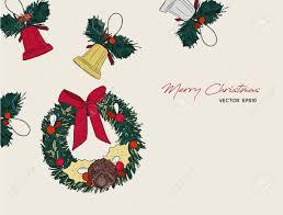 Retro Holidays Christmas Icons Hand Drawn Sketch Set Isolated Retro Holidays