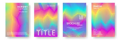 Cool Title Pages Broken Lines Gradient Report Cover Templates Vector Set Halftone