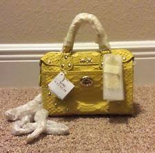 item 3 SUPER RARE COACH Rhyder Satchel 18 In Python Embossed Leather 34743  YELLOW NWT -SUPER RARE COACH Rhyder Satchel 18 In Python Embossed Leather  34743 ...
