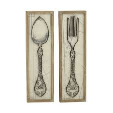 on kitchen fork knife spoon wall art french painting with spoon and fork wall decor wayfair