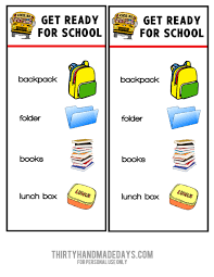 Printable Chart Get Ready For School School Readiness