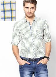 Indigo Nation Size Chart Indigo Nation Yellow Slim Fit Casual Shirt