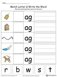 Each sheet also includes practice for writing the letters and. Kindergarten Building Words Printable Worksheets Myteachingstation Com