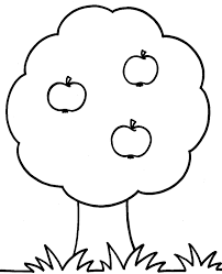 Un Albero Con Tre Grandi Mele Da Colorare Per Bambini Piccoli