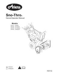 Ariens 921002 St1027le Specifications Manualzz Com