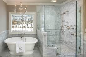 standing shower glass door bath tub gray tile