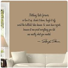 nothing lasts forever by marilyn monroe wall decal sticker art mural home d cor quote on marilyn monroe wall art quotes with amazon nothing lasts forever by marilyn monroe wall decal