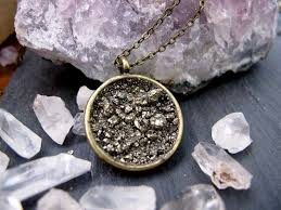 pyrite a fools gold dust circle handmade pendant necklace
