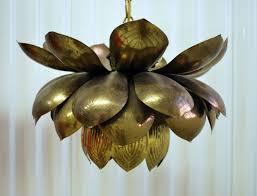 vintage brass lotus lamp