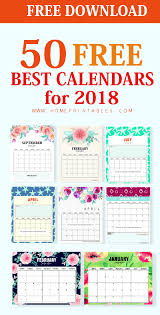 Top 50 Printable Calendar 2018 For Free Download Home Printables