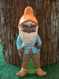 hand painted ceramic african american garden gnome