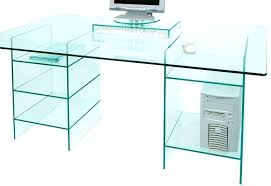 clear glass computer desk with shelves boxey