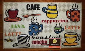 nwt coffee cups cafe latte java kitchen mat striped polka dot decor rug 18x30
