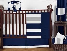 navy blue and gray stripe baby bedding 11pc crib set by sweet jojo designs only 189 99