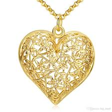 whole big hollow out heart shape pendant necklace flower pattern lovely jewelry 18k gold plated nickle free antiallergic romantic necklaces silver