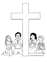 Printable Coloring Pages coloring pages of the cross : Children With Cross Coloring Page | Teach Kids About Christ