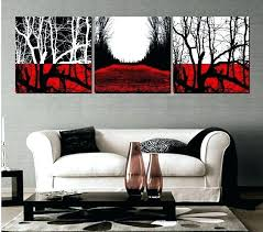 red black and white decor handmade 3 piece abstract landscape wall art oil painting on canvas