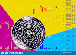 Coin Cryptocurrency Miota On Chart And Yellow Blue Neon
