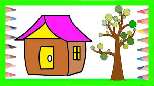 House And Tree Drawing For Kids Step By Step Drawing Coloring