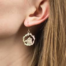 Woody and Wilma Wolf Gold Plated engraved animal Earrings — Sophia  Hargreaves Jewellery