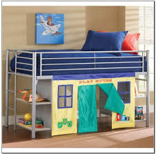 Bedroom: Low Cost Oak Wood Kids Loft Bed With Attached Desk And Blue  Cabinet And