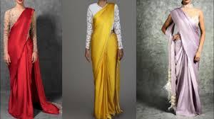 Simple Saree With Heavy Designer Blouse New Designer Satin Plain Saree Collection For Wedding Season Simple Stylish Saree With Heavy Blouse
