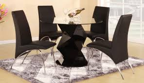 finn black high gloss round dining table set with 4 chairs tap to expand