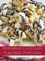 printable recipe for peppermint chocolate drizzled popcorn peppermint chocolate drizzled flavored popcorn