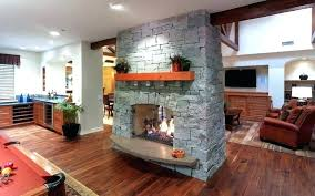 two sided fireplace indoor outdoor dual stone double wood burning