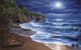beach landscape painting inspirational beauty of moonlight at night sky near sea poetic nature images