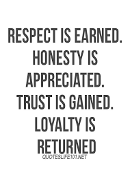 Life Quotes Respect Is Earned Honesty Is Appreciated Best Quotes Impressive Best Quote For Life