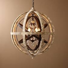 retro rustic weathered wooden globe metal orb crystal 5 light chandelier