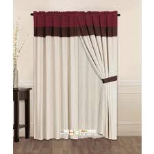 burgundy shower curtain sets. hg station 4-pc striped solid modern curtain set burgundy brown beige valance liner drape shower sets