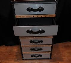 Luggage With Drawers Industrial Leather Chrome Chest Drawers Tall Boy Luggage Furniture