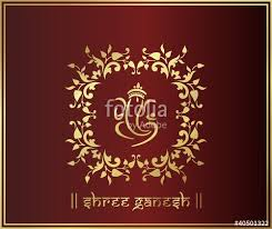 ganesh, traditional hindu wedding card design, india\