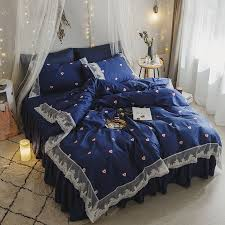 Vintage Lace Design Navy Blue and White Love Heart Print Shabby Chic Full, Queen Size Bedding Sets